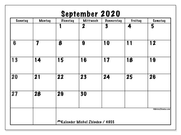 Kalender September 2020, 48SS. Planer zum kostenlosen ausdrucken.