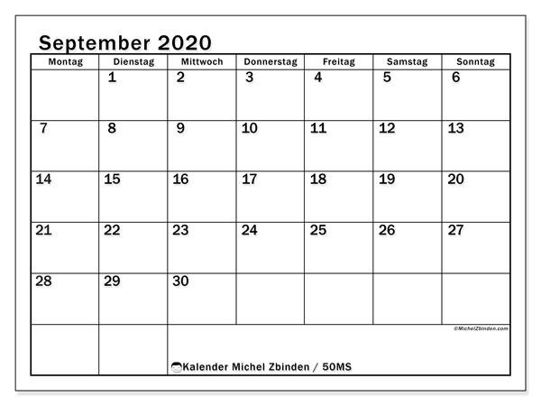 Kalender September 2020, 50MS. Kostenlos ausdruckbare Planer.