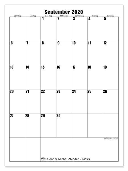 Kalender September 2020, 52SS. Zeitplan zum kostenlosen ausdrucken.