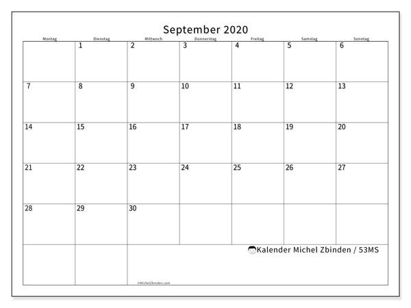 Kalender September 2020, 53MS. Kostenloser Kalender zum ausdrucken.