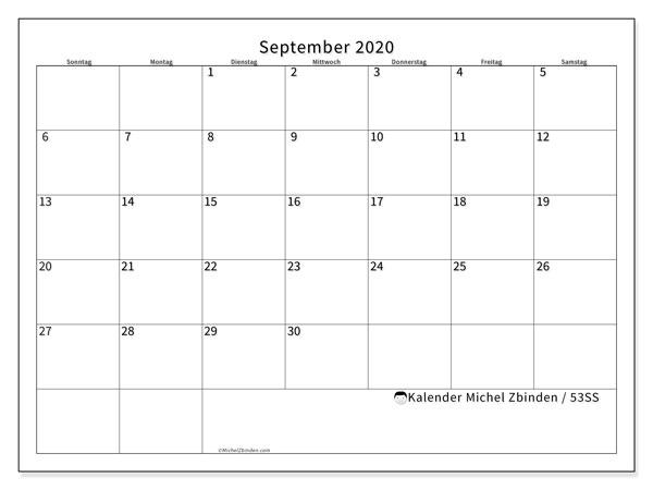 Kalender September 2020, 53SS. Monatlicher Zeitplan zum kostenlosen ausdrucken.