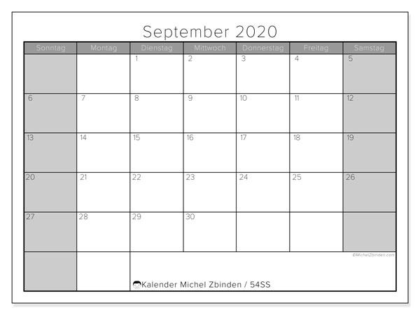 Kalender September 2020, 54SS. Kalender für den Monat zum kostenlosen ausdrucken.