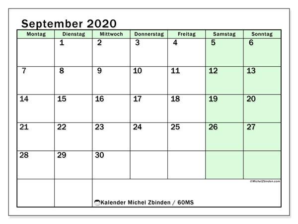 Kalender September 2020, 60MS. Monatlicher Kalender zum kostenlosen ausdrucken.
