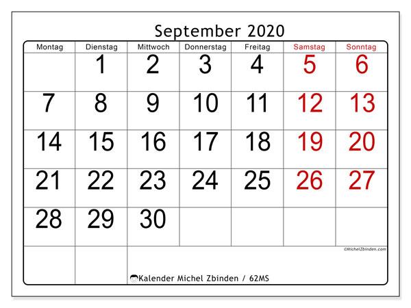 Kalender September 2020, 62MS. Monatskalender zum kostenlosen ausdrucken.