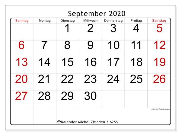 Kalender September 2020, 62SS. Kostenlos ausdruckbare Planer.