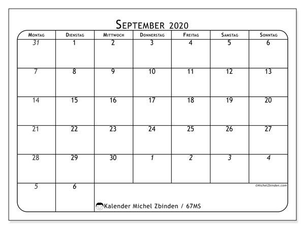 Kalender September 2020, 67MS. Kostenloser Planer zum ausdrucken.