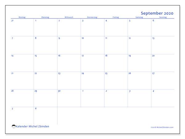 Kalender September 2020, 73MS. Planer zum kostenlosen ausdrucken.