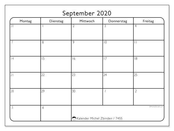 Kalender September 2020, 74SS. Kostenloser Planer zum ausdrucken.
