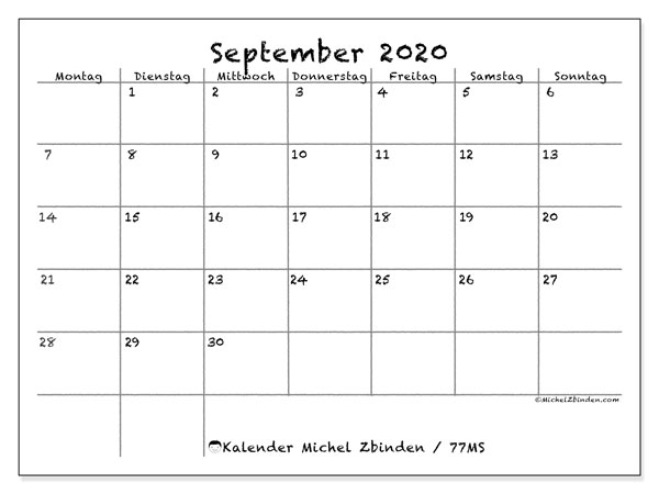 Kalender September 2020, 77MS. Monatlicher Zeitplan zum kostenlosen ausdrucken.