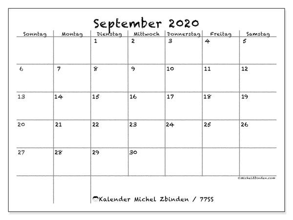 Kalender September 2020, 77SS. Zeitplan zum kostenlosen ausdrucken.