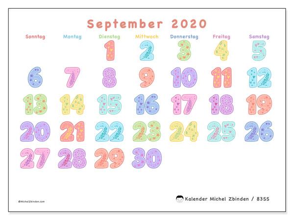 Kalender September 2020, 83SS. Zeitplan zum kostenlosen ausdrucken.
