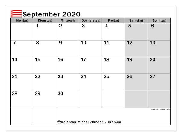Kalender September 2020, mit den Feiertagen in Bremen. Kalender mit Feiertagen zum kostenlosen ausdrucken.