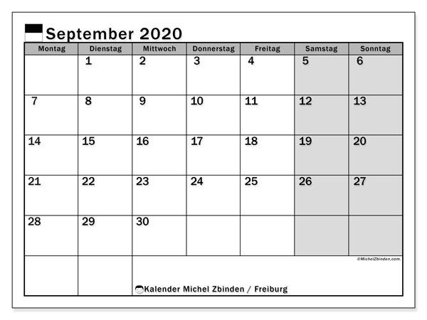 Kalender September 2020, mit den Feiertagen des Kantons Freiburg. Kalender Feiertage frei zum ausdrucken.