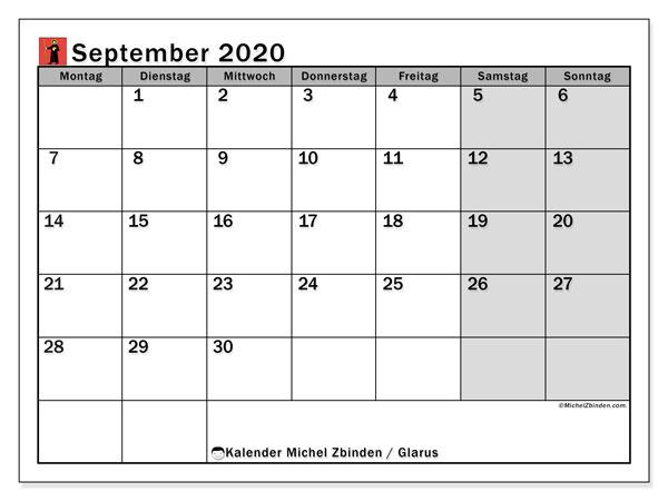 Kalender September 2020, mit den Feiertagen des Kantons Glarus. Kalender mit Feiertagen zum kostenlosen ausdrucken.