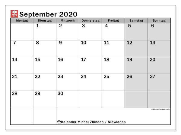 Kalender September 2020, mit den Feiertagen des Kantons Nidwalden. Kalender mit Feiertagen zum kostenlosen ausdrucken.