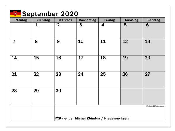 Kalender September 2020, mit den Feiertagen in Niedersachsen. Kalender mit Feiertagen zum kostenlosen ausdrucken.
