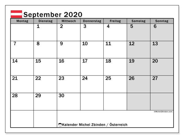 Kalender für September 2020, mit Feiertagen in Österreich. Kostenloser Kalender zum ausdrucken.