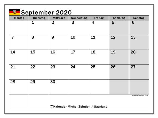 Kalender September 2020, mit den Feiertagen des Saarlandes. Kalender mit Feiertagen zum kostenlosen ausdrucken.