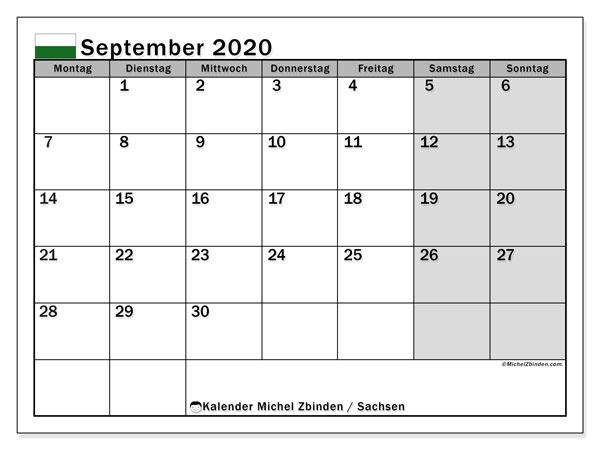 Kalender September 2020, mit den Feiertagen in Sachsen. Kalender mit Feiertagen zum kostenlosen ausdrucken.