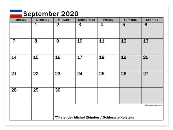 Kalender September 2020, mit den Feiertagen in Schleswig-Holstein. Kalender mit Feiertagen zum kostenlosen ausdrucken.