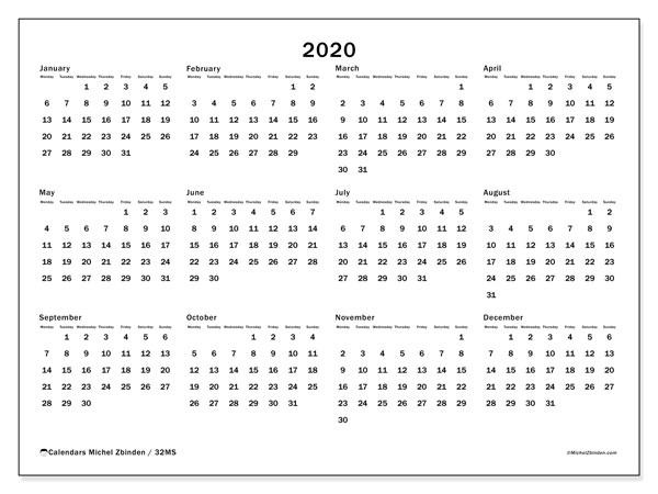 2020 Calendar, 32MS. Yearly calendar to print free.