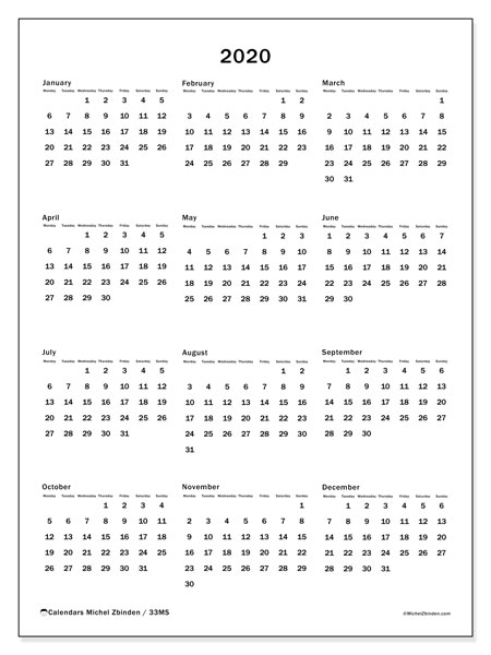 Annual Calendar 2020 - 33MS. Frameless. Annual Calendar and free schedule to print.