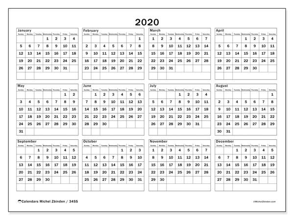 2020 Calendar, 34SS. Annual calendar to print free.