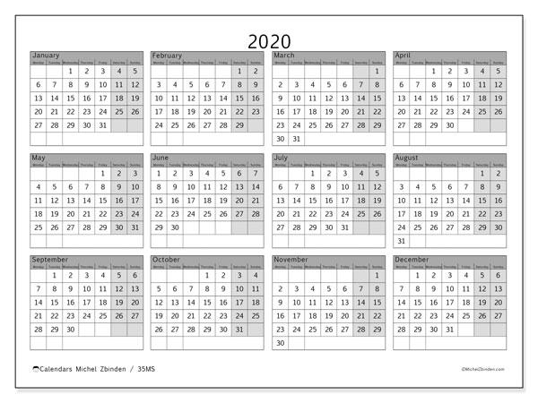 2020 Calendar, 35MS. Free calendar to print.