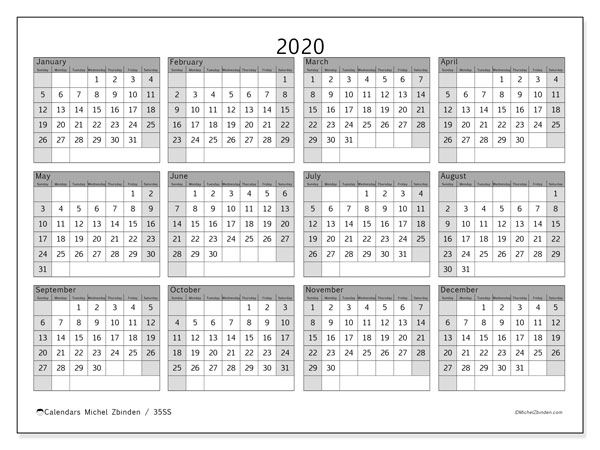 Printable calendars, Annuals 2020, Sunday - Saturday