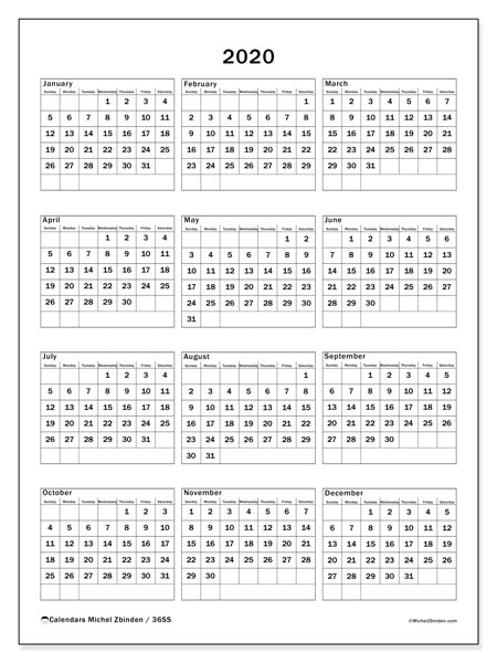 2020 Calendar, 36SS. Free printable annual calendar.