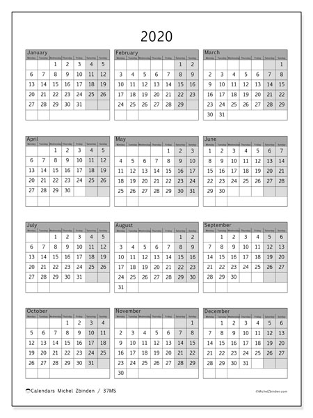 Calendar  2020, 37MS