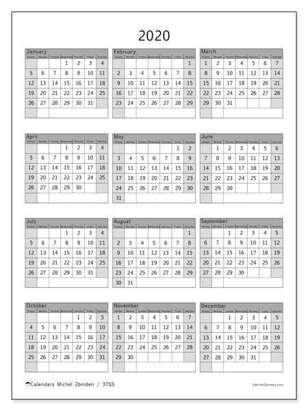 2020 Calendar, 37SS. Yearly calendar to print free.