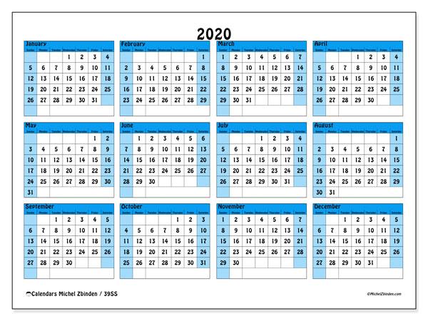 2020 Calendar, 39SS. Free printable annual calendar.