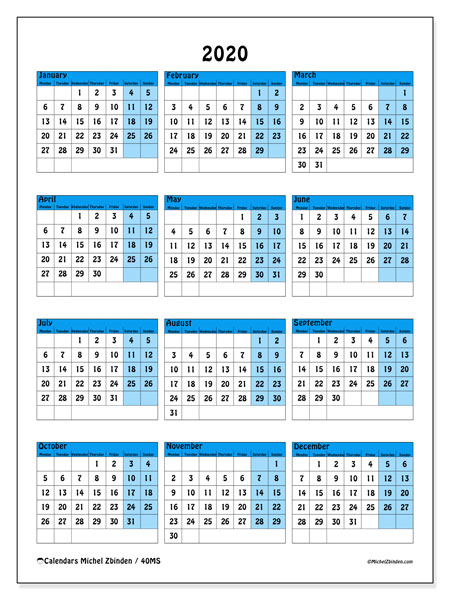 2020 Calendar, 40MS. Free printable yearly calendar.