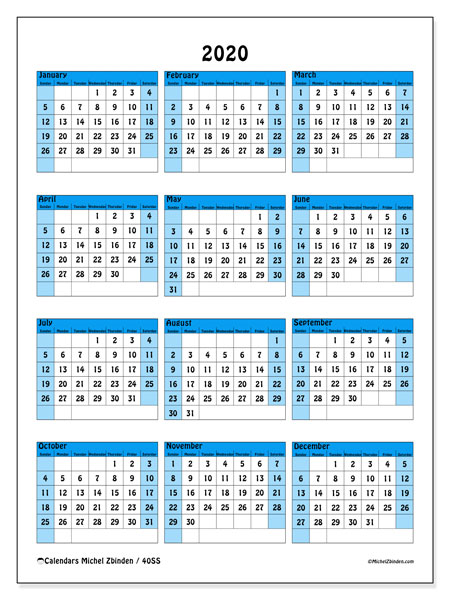 2020 Calendar, 40SS. Free printable yearly calendar.