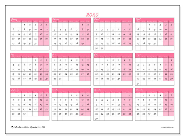 2020 Calendar, 41MS. Yearly calendar to print free.