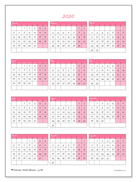 Calendar  2020, 42MS