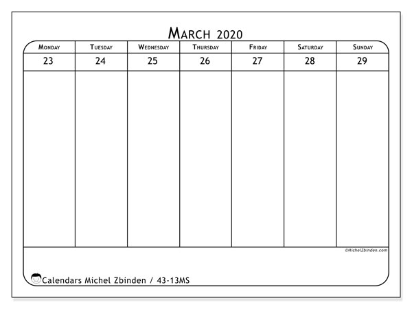 2020 Calendar, 43-13MS. Free bullet journal to print.