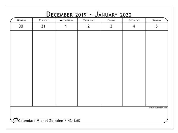 2020 Calendar, 43-1MS. Free printable weekly calendar.