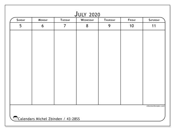 2020 Calendar, 43-28SS. Free printable weekly planner.
