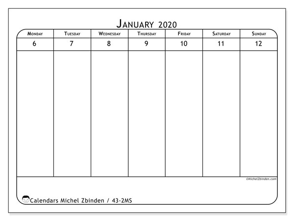 2020 Calendar, 43-2MS. Weekly planner to print free.