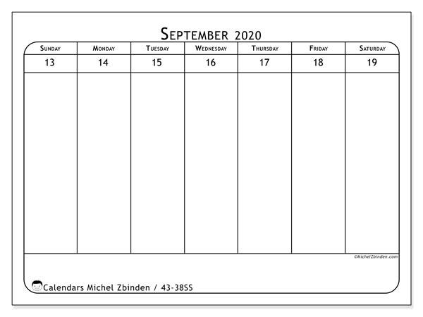 2020 Calendar, 43-38SS. Free printable bullet journal.