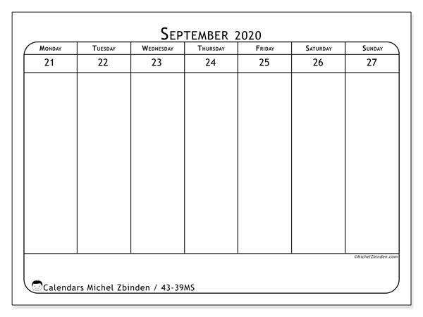 2020 Calendar, 43-39MS. Weekly calendar to print free.