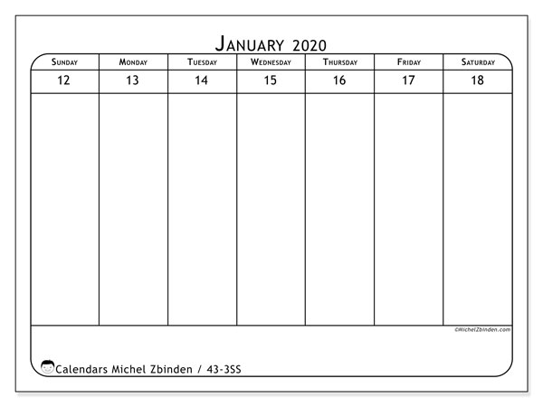 2020 Calendar, 43-3SS. Free printable calendar.