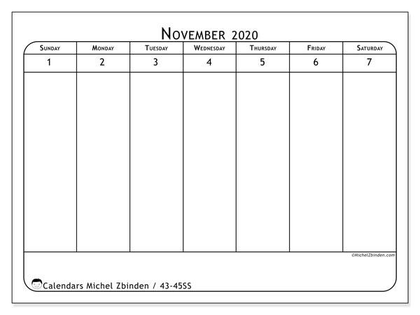 2020 Calendar, 43-45SS. Free printable weekly calendar.