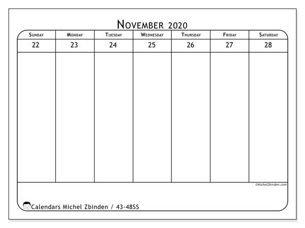 2020 Calendar, 43-48SS. Calendar for the week to print free.
