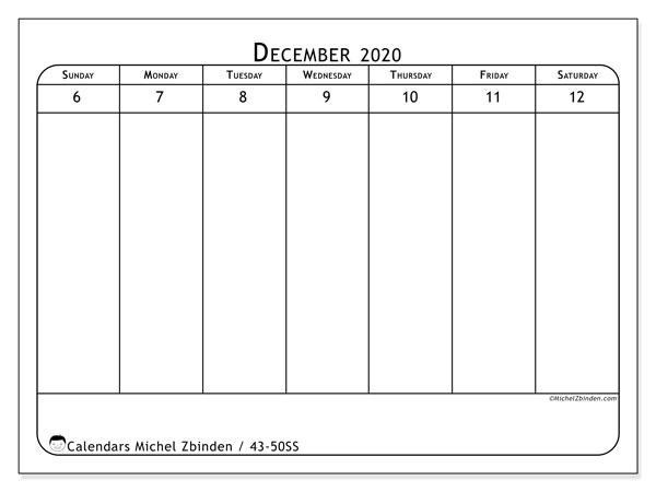 2020 Calendar, 43-50SS. Free printable weekly calendar.