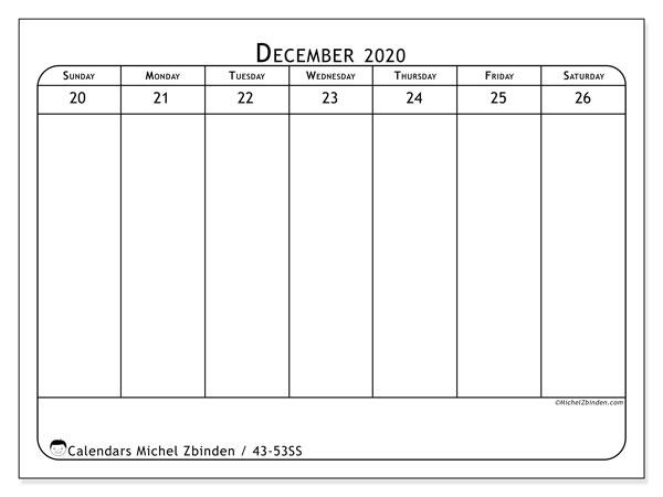 2020 Calendar, 43-52SS. Free printable weekly planner.