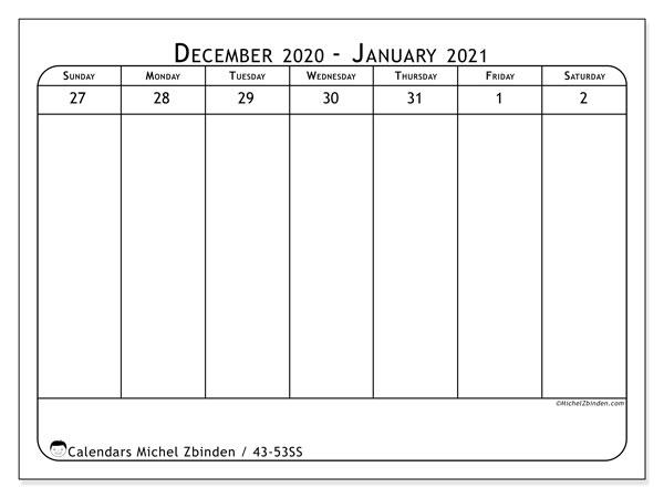 2020 Calendar, 43-53SS. Free planner to print.