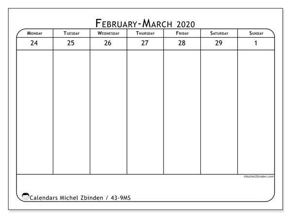 2020 Calendar, 43-9MS. Free printable weekly planner.